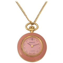 Vintage Gold Plated and Pink Enamel Geneve Mechanical Pendant/ Pocket Watch