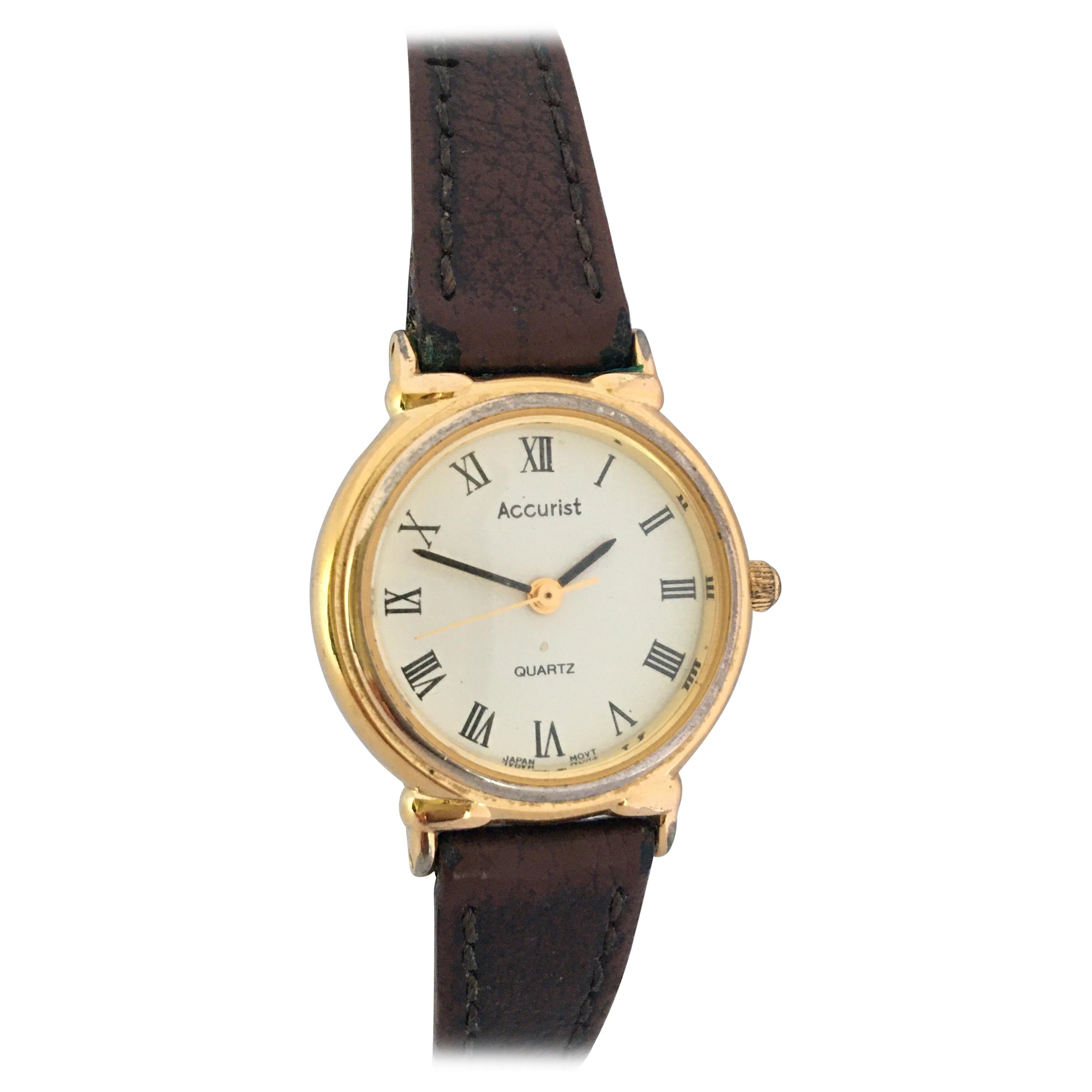 Vintage Gold-Plated and Stainless Steel Back Accurist Quartz Ladies Watch