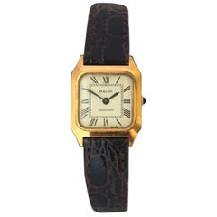 Vintage Gold-Plated and Stainless Steel Square Ladies Bulova Mechanical Watch