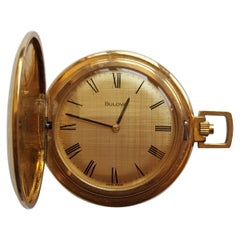 Vintage Gold-Plated Bulova Pocket Watch, 1970s, 17 Jewel, Working, Swiss Made