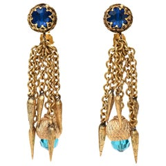 Vintage Gold Plated & Crystal Chain Dangle Clip On Earrings 60's