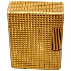 Vintage Gold-Plated Diamond Head Pocket Gas Lighter By S. T. Dupont, Paris