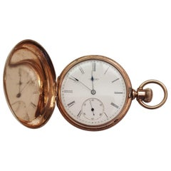Vintage Gold-Plated Elgin Pocket Watch, Year 1883, Working, 11 Jewel