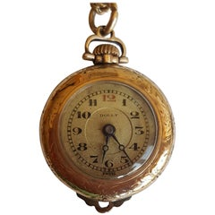 Vintage Gold-Plated Pendant Watch, Dolly Brand, Working, 15 Jewel