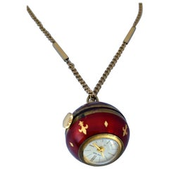 Vintage Gold-Plated Red Enamel Guilloche Hand-Winding Ball Pendant Swiss Watch