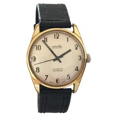 Vintage Gold-Plated Stainless Steel Swiss Made Corvette Hand-Winding Wristwatch