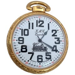 Vintage Gold plated Steam Train Pocket Watch