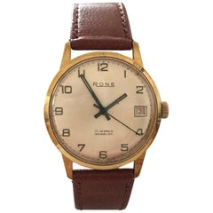 Vintage Gold-Plated Swiss Made Hand-Winding Rone Wristwatch