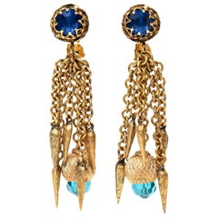 Vintage Gold Plated & Turqoise & Blue Crystal Chain Dangle Clip On Earrings 60's