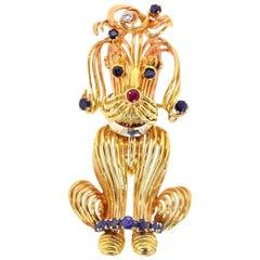 Vintage Gold Poodle Brooch
