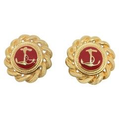 Vintage Gold & Red Nautical Earrings 1980S
