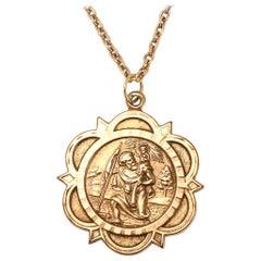 Vintage Gold Saint Christopher Pendant Necklace