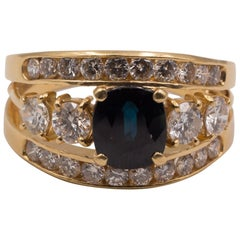 Vintage Gold, Sapphire and 1.5 Carat Diamond Ring, 1950s