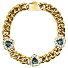 Vintage Gold & Sapphire Crystal Heart Bracelet 1990s