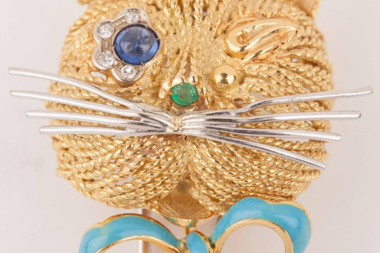 Vintage Gold Sapphire Diamonds and Enamel French Cat Brooch For Sale 6