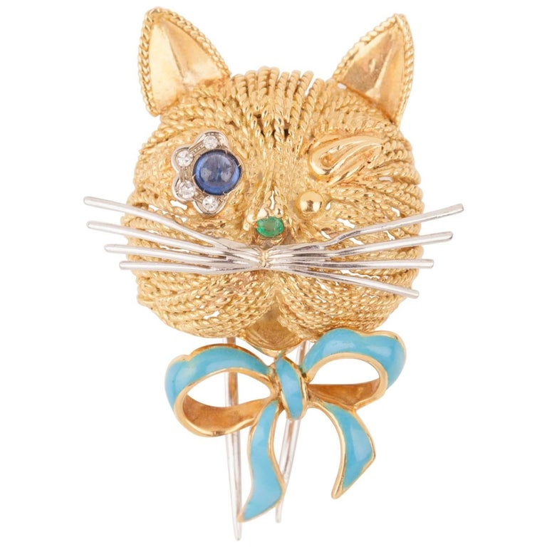 Vintage Gold Sapphire Diamonds and Enamel French Cat Brooch For Sale