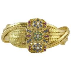 Vintage Gold, Sapphire, Ruby Diamond Bracelet