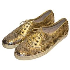 Vintage Gold Sequin Pumps by Colette Diciotto
