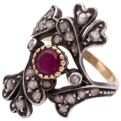 Vintage Gold, Silver, Diamond and Ruby Ring, 1950s