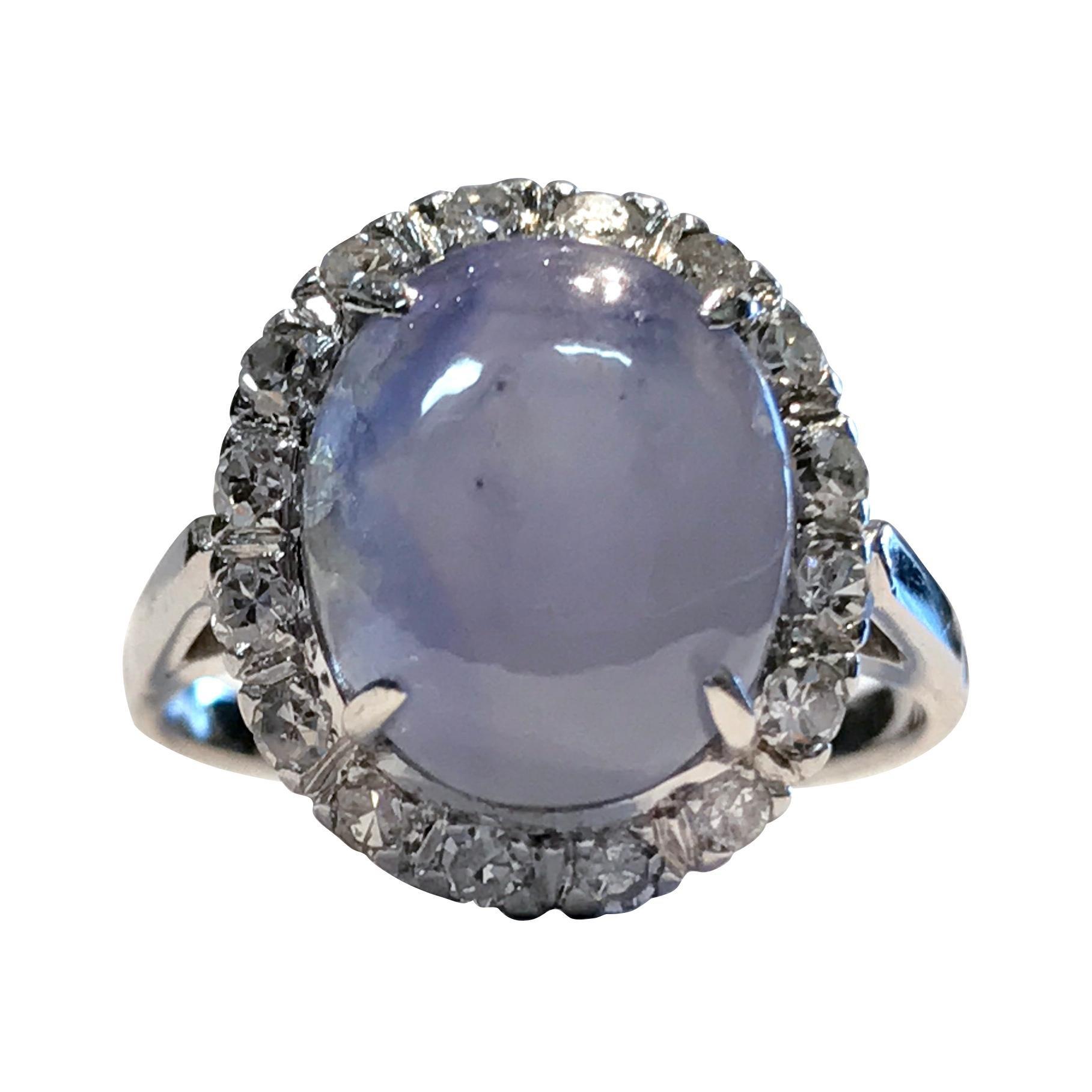 74ffa1aaf15be Vintage Star Sapphire with Diamond Halo, 0.32 Carat