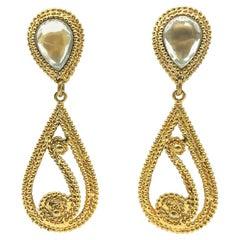 Vintage Gold Swirl Statement Drop Earrings 1980s