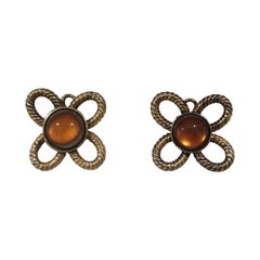Vintage gold tone amber stone clip on earrings