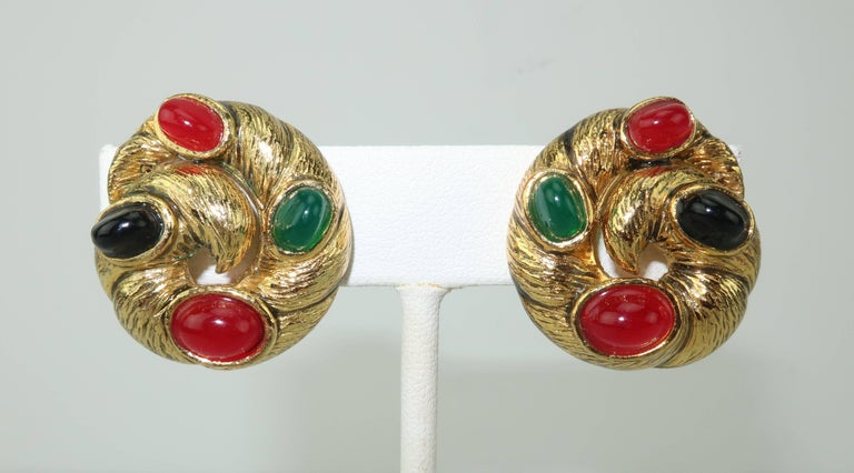 These detailed gold tone metal clip on earrings offer the look of fine jewelry at a costume jewelry price.  The .88