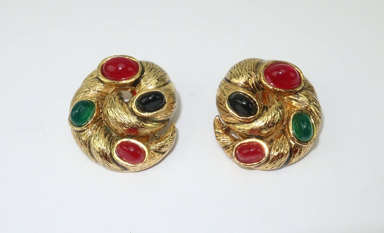 Vintage Gold Tone Cabochon Clip On Earrings For Sale 2