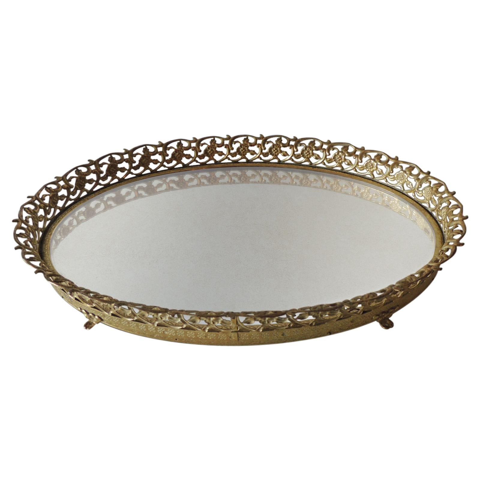 Vintage Gold Tone Filigree Oval Brass Vanity Tray with Mirror