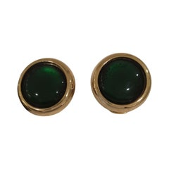 Vintage gold tone green stone clip on earrings