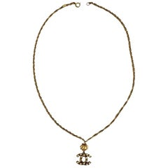 Vintage gold Tone metal CC Rhinestone Pendant Necklace