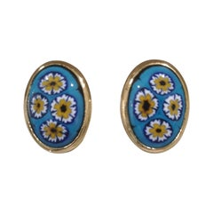 Vintage gold tone multicoloured clip on earrings