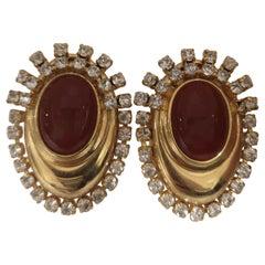 Vintage gold tone swarovski and stone pendant clip on earrings
