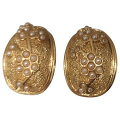 Vintage gold tone with small white faux pearls clip on earrings