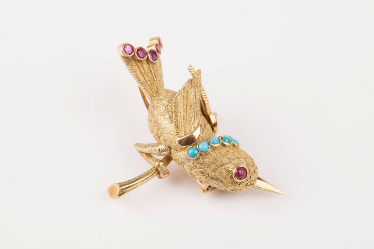 Vintage Gold Turquoise and Rubies French Bird Brooch For Sale 7