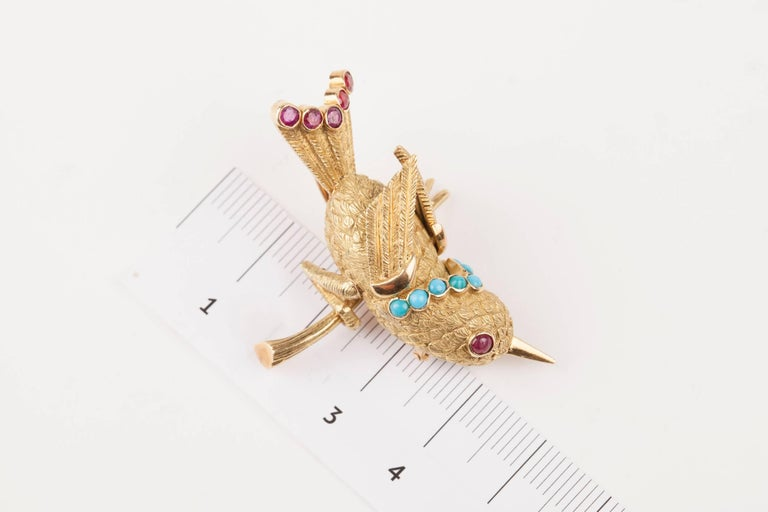 Vintage Gold Turquoise and Rubies French Bird Brooch In Good Condition For Sale In Saint-Ouen, FR