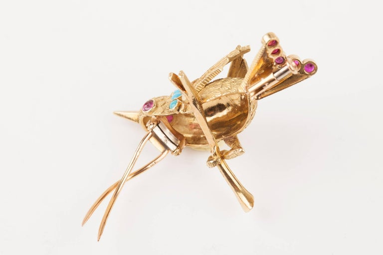 Vintage Gold Turquoise and Rubies French Bird Brooch For Sale 2