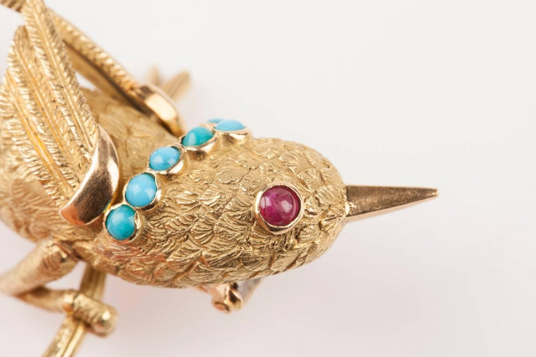 Vintage Gold Turquoise and Rubies French Bird Brooch For Sale 3