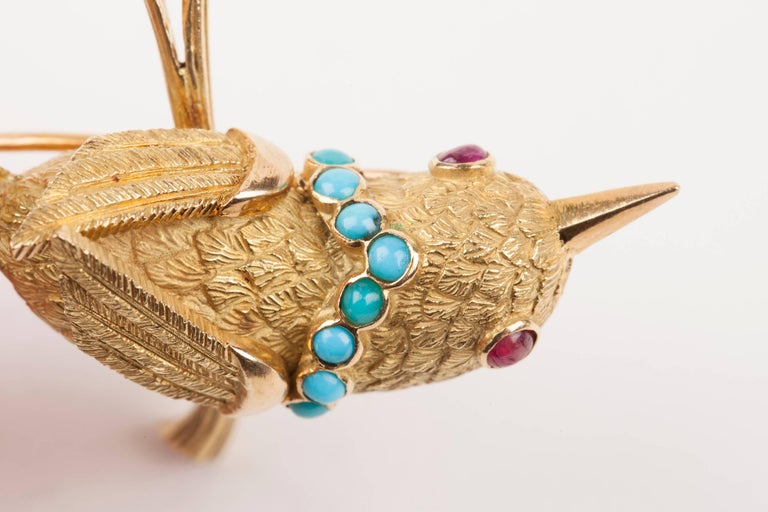 Vintage Gold Turquoise and Rubies French Bird Brooch For Sale 4