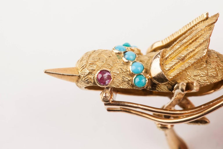 Vintage Gold Turquoise and Rubies French Bird Brooch For Sale 5