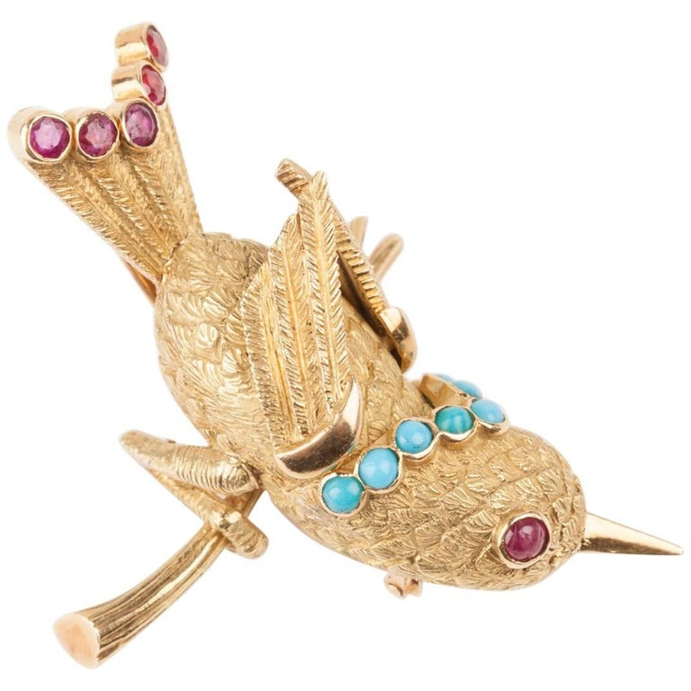 Vintage Gold Turquoise and Rubies French Bird Brooch For Sale