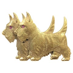Vintage Gold Wash Vermeil Scottish Terrier Dogs Brooch