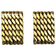 Vintage Gold Weave Earrings 1980s