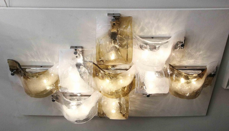 Vintage Gold White and Clear Mazzega Glass Flush Mount Lighting For Sale 4