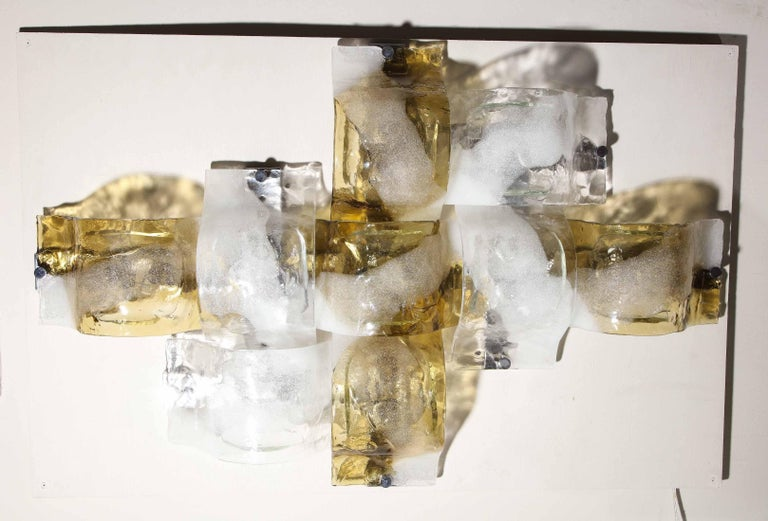 Italian Vintage Gold White and Clear Mazzega Glass Flush Mount Lighting For Sale