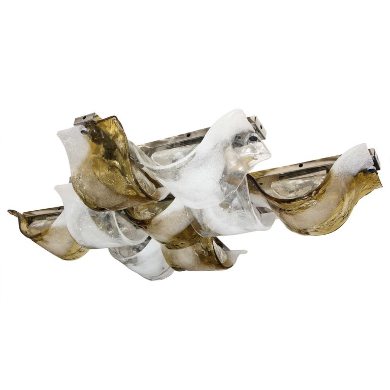Vintage Gold White and Clear Mazzega Glass Flush Mount Lighting For Sale