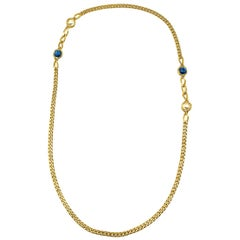 Vintage Gold with Blue Glass & Pearl Chain Sautoir 1980s