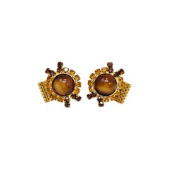Vintage Golden Cufflinks and Stud, Amber Crystals and Mesh Findings