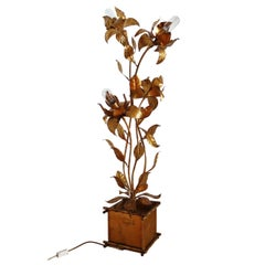 Midcentury Floor Lamp with Gilt Leaves and Flowers by Hans Kögl, 1970s