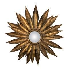 Vintage Golden Metal Flower Shaped Sunburst Mirror